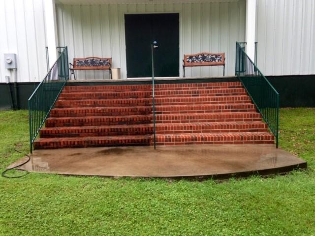 Brick Stairs Pressure Washing