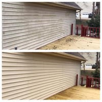 Siding & deck power wash before & after